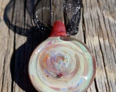 Glass Pendant With Shimmery Abalone Shell Appearance
