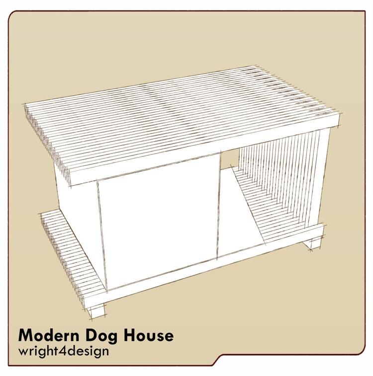 Large modern slot design dog house plans free by wright4design for Big modern dog house