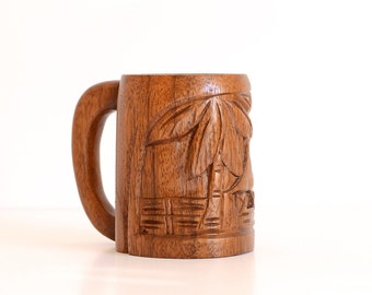 Teak Wood Tiki Mug Hand Carved