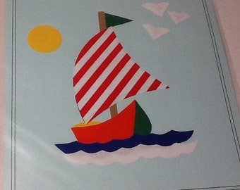 Applique Ship Ready to Iron On with Directions