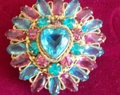 Vintage Original by Robert Brooch With Pink and Blue Stones