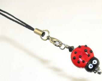 Ladybug SRA Lampwork Bead Pendant Zipper Purse Pull