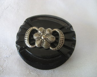 Large VINTAGE Metal Bow Black Plastic BUTTON