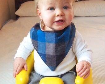 ON SALE | Bandana Toddler Boy Bib Blue and Black Plaid  | Baby Bandana Bib | Drool Bib
