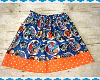 girls Skylander skirt 2t 3t 4t 4/5 6/6x 7/8 and 10/12 Ready to Ship