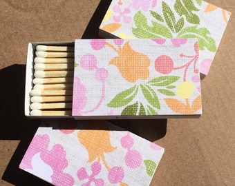 10 Matchbox Wedding Favors pink green yellow orange floral vintage
