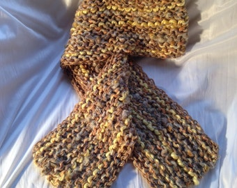 Brown/Multicolored Hand Knit Scarf