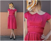 Vintage 50s Hot Pink Fuchsia Satin Silk Party Cocktail Dress with Unique Neckline Faux Peter Pan Collar by Suzy Perette | Small