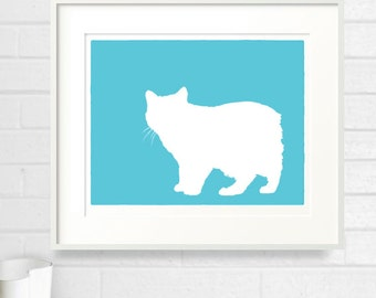 Manx Cat Silhouette Modern Pet Decor Kitty Lover Gift Mod-Dog Archival Fine Art Print - 8x10