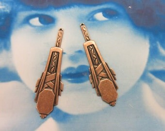 Copper Ox Art Deco Style Drops 917COP x2