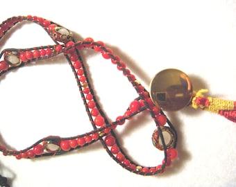 Chan Luu Inspired Red Coral Cloisonne Tassel Wrap Bracelet