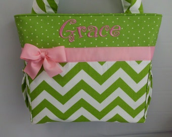 CHEVRON  in Chartreuse .. .. PINK   Accents  ...   Diaper Bag ...Bottle Pockets ..  Monogrammed  FReE
