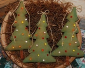 Primitive Pip Berry Christmas Tree Tucks Bowl Fillers Ornies SET OF THREE