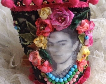 Colour Explosion Lilygrace Frida Kahlo Art Cuff  with Vintage Lace, Leather, Silk, Vintage  Rhinestones, Vintage Beads and Fabric Flowers