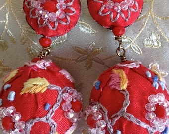 Lilygrace Embroidered Red Silk and Beaded Earrings with Glass Faceted Beads