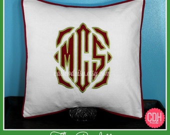 The Roulette Applique Framed Monogrammed Pillow Cover - 16 x 16 square