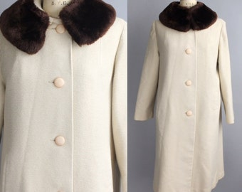 Vintage Faux Fur Collar Coat | Vintage 1950s Winter Coat | Carol Brent Wool Coat | M