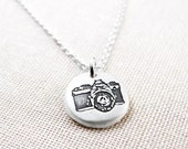Tiny Camera necklace, camera jewelry, vintage camera pendant necklace, silver camera necklace, photography jewelry, coworker gift