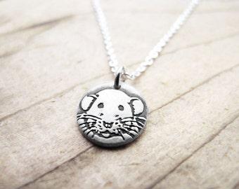 Tiny Dumbo rat necklace, silver pet rat pendant, Dumbo rat memorial necklace, memorial jewelry, rattie necklace