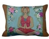 Zen Decorative pillow~ Lotus Flower Pillow ~ Buddha Goddess  ~ Zen Decor ~ Goddess Pillow ~ Meditation Pillow ~ Spa Decor ~ Bohemian Decor