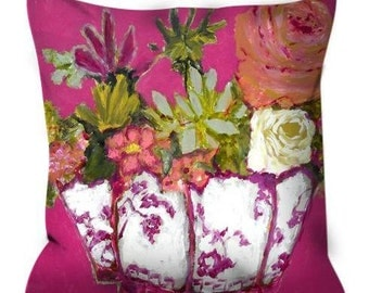 Decorative throw pillow succulents roses pink chinoiserie