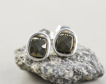 Pyrite Post Earrings, Sterling Silver Cube Posts, Metallic Earrings, Neutral Studs