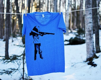 Gunslinger Screenprinted Heather Blue Tshirt