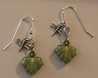 Sterling Silver DRAGONFLY ON LEAF Earrings - Insect, Garden, Totem