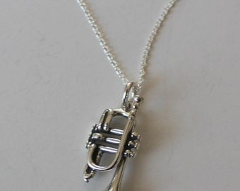 Sterling Silver 3D FRENCH TRUMPET Pendant  and Chain -  Instrument, Musician, Orchestra