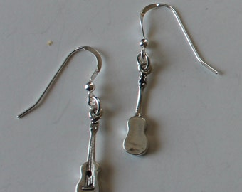 Sterling Silver 3D UKELELE Earrings - Music, Musician
