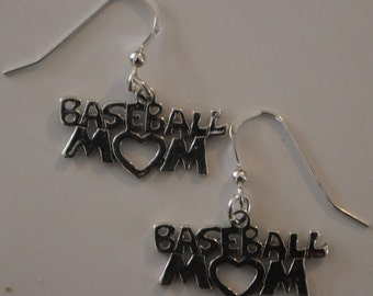 Sterling Silver BASEBALL MOM Earrings - Sports