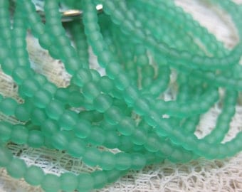 50 Matte Sea Foam Emerald Green Opal Czech Pressed Glass Small Round Druk Beads 3mm