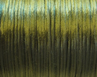 Dark Olive Green Satin Rattail Cord 1mm 6 yards for Macrame Kumihimo Knotting