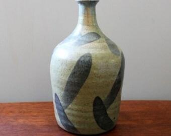Blue. Vintage stoneware bud vase.