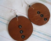 Leather Round Disk Earrings - Saddle Tan with Leopard Print Ultrasuede and  Black wood  bead.  Silver Filled  earwires