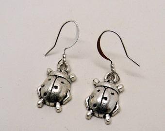 Steampunk ladt bug earrings.