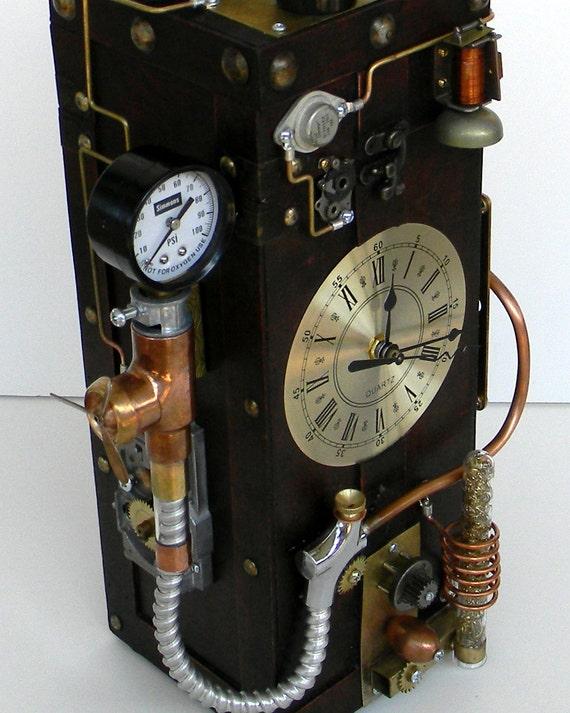 sculpture de steampunk horloge de bureau steampunk steampunk. Black Bedroom Furniture Sets. Home Design Ideas