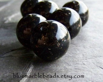 Large Lucite Bead-Black Lucite-Large Round Beads-Italian Beads-Jet Black Gold and Silver Round Lucite Bead-6 Beads