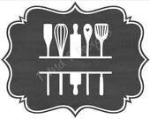 Split Kitchen Utensils SVG & PNG - Instant Download