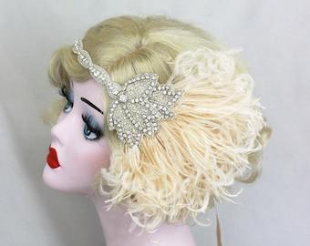 Bridal Head Piece - 1920's Flapper - Great Gatsby Wedding Headpiece - Ivory Feather Fascinator - Crystal Headband - Silver Hair Accessory
