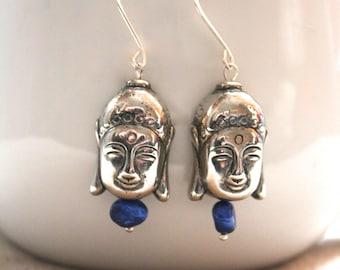 Silver and Blue Pearl Tibetan Buddha Earrings