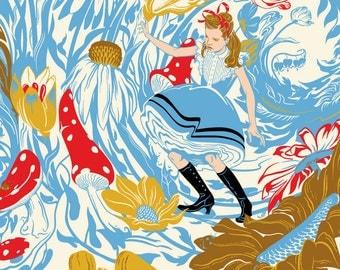 "Alice in Wonderland Print, White Rabbit, Botanical Print, Flower Print - Giclee Print Large 30"" X 20"""