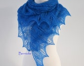 Blue lace knitted shawl with 1050 glass beads, M270