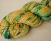 Hand Dyed Sock Yarn - Merino & Silk - Fingering Weight - Gleam - Gecko