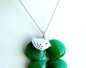 Clover Necklace, Green Clover Necklace, Four Leaf Clover  pendant, Green Stone Necklace, Green Agate Necklace,Gemstone Necklace SALE