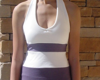 Cream and Eggplant Bamboo Halter Top/ Organic Cotton/Eco-friendly dyes/One of a Kind