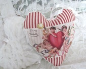 Lavender Heart Sachet Hang or Tuck Pillow - Vintage Valentine Postcard Chenille Ticking - Shabby Cottage Chic