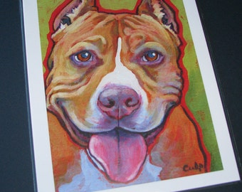 STAFFORDSHIRE Dog 8x10 Signed Art Print from Painting by Lynn Culp