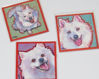 AMERICAN ESKIMO Dog Art Magnet Set from Paintings by Lynn Culp