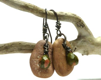 Genuine Drilled Beach Stone Earrings Natural Pebbles Unakite Beads Pure Fine Silver Handmade Wires Oxidized Sterling Artisan Pair BOUY